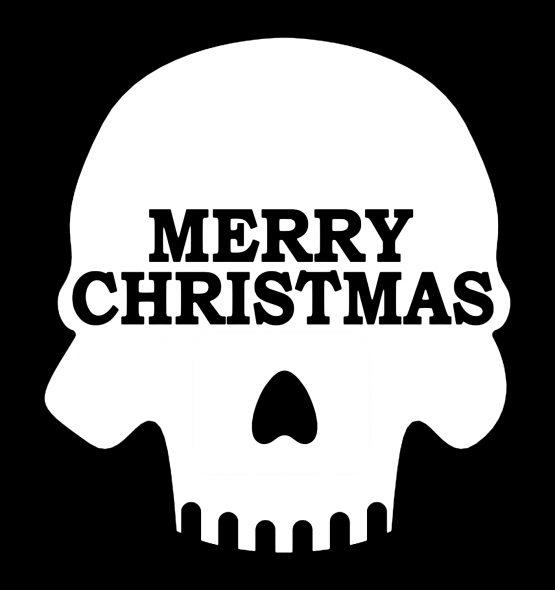 Kersttrui Zwart Skull bedrukking
