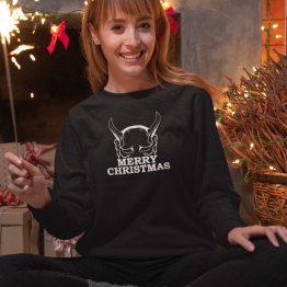 Zwarte Kersttrui Horns