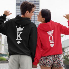 King Queen hoodies Set Premium Cards
