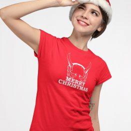Kerst T-shirt Merry Horns