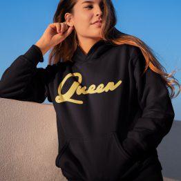 Queen Hoodie Premium Black Gold