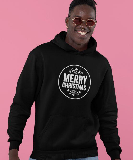 Zwarte Kerst Hoodie Merry Round