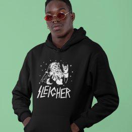 Zwarte Kerst Hoodie Sleigher