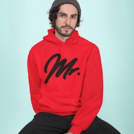 Mr Mrs Hoodie Premium Red Black