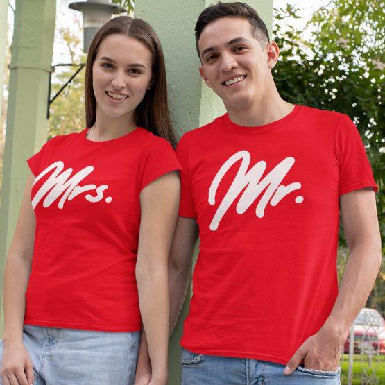 Mr Mrs T-Shirt Premium Red