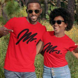 Mr Mrs T-Shirt Premium Red Black