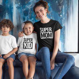 Moeder Dochter Shirt Super Mom Kid