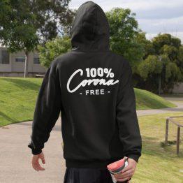 Corona Hoodie 100% Corona Free Back