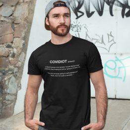 Corona T-Shirt Covidiot (noun)