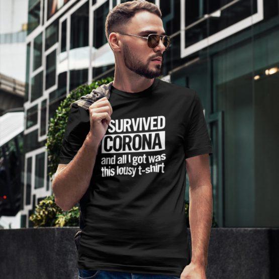 Corona T-Shirt I Survived Black