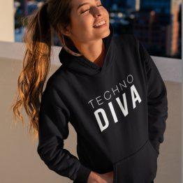 Festival Hoodie Techno Diva Zwart