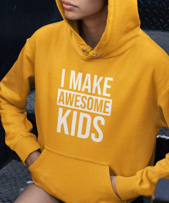 Moederdag Hoodie I Make Awesome Kids Geel