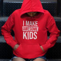 Moederdag Hoodie I Make Awesome Kids Rood