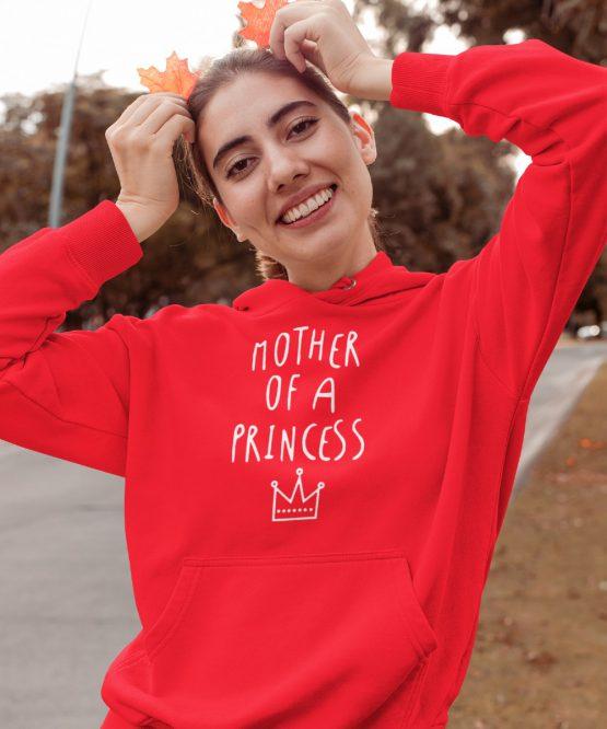 Moederdag Hoodie Mother Of A Princess Rood