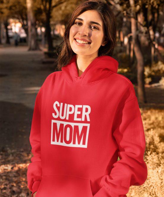 Moederdag Hoodie Super Mom Rood