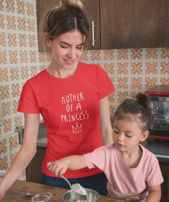 Moederdag T-Shirt Mother Of A Princess Rood