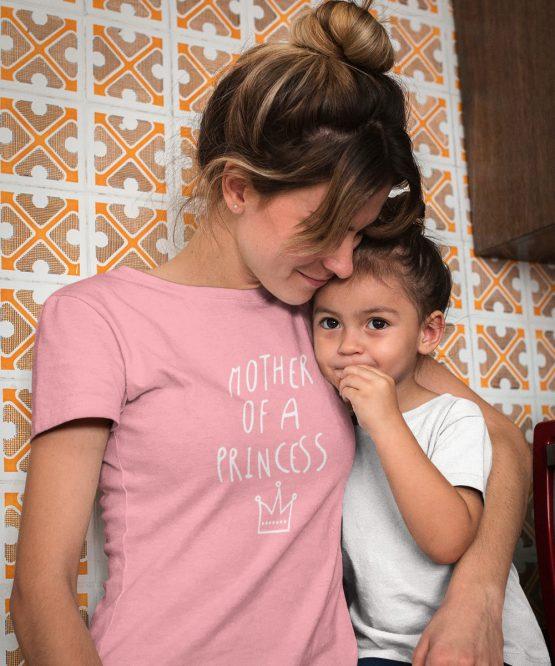 Moederdag T-Shirt Mother Of A Princess Roze