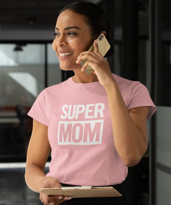 Moederdag T-Shirt Super Mom Roze