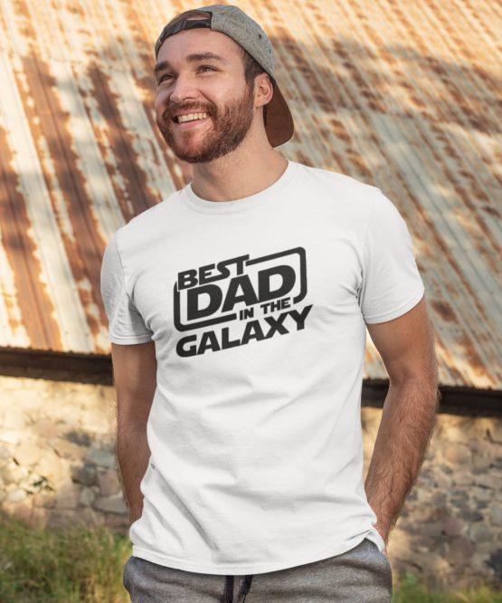 Vaderdag T-Shirt Best Dad Galaxy wit