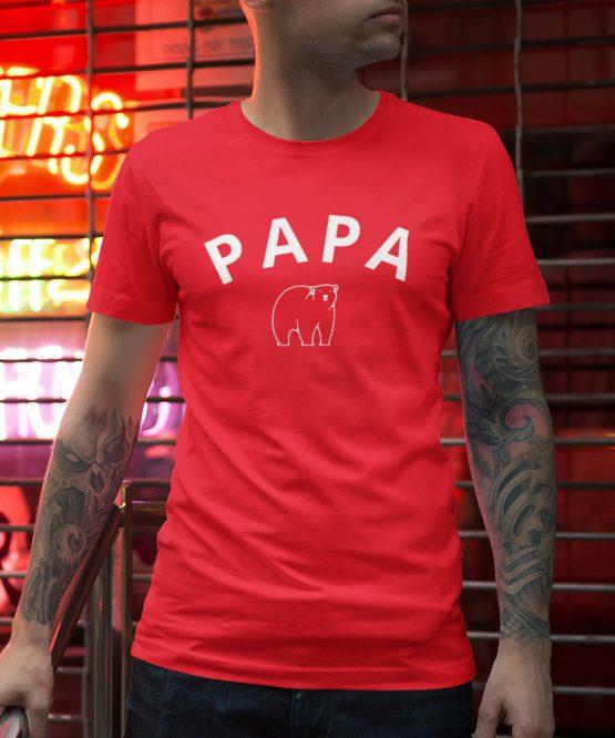 Vaderdag T-Shirt Papa Bear Rood